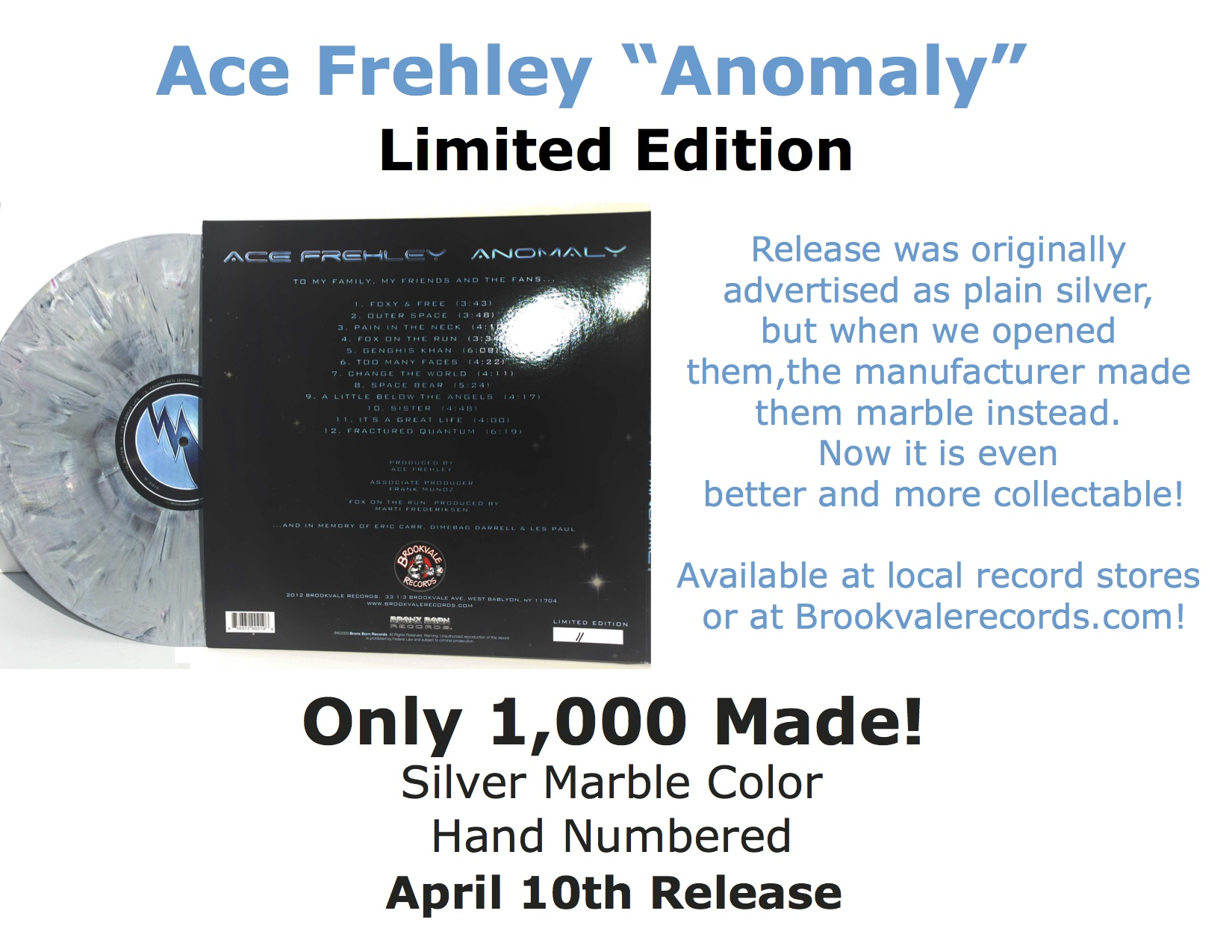 Ace Frehley Anomaly Silver Marble Vinyl Brookvale Records